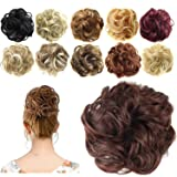 FESHFEN Synthetic Hair Bun Extensions Messy Hair Scrunchies Hair Pieces for Women Hair Donut Updo Ponytail (Color: A13- 33# Dark Auburn, Tamaño: Normal)