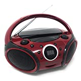 SINGING WOOD CD, CD-R/RW Player Portable/w Bluetooth AM/FM Radio Aux Input, Headset Jack, Foldable Carrying Handle (Firemist Red) (Color: Firemist Red)