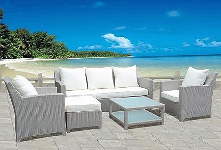 Design Luxus Gartenmöbel Lounge Sitzgruppe Polyrattan 1 x 3er Sofa, 2 x Sessel, 1 x Hocker & Tisch, Fertig montiert!