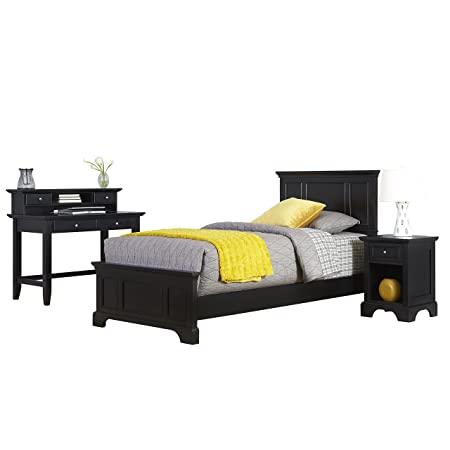 Home Styles 5531-4023 Bedford Twin Bed, Night Stand and Student Desk with Hutch, Black
