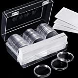 46 mm Coin Capsules Holder and 8 Sizes (17/20.5/25/27/30/32/40/46 mm) Protect Gasket Coin Holder Case with Plastic Storage Organizer Box for Coin Collection Supplies