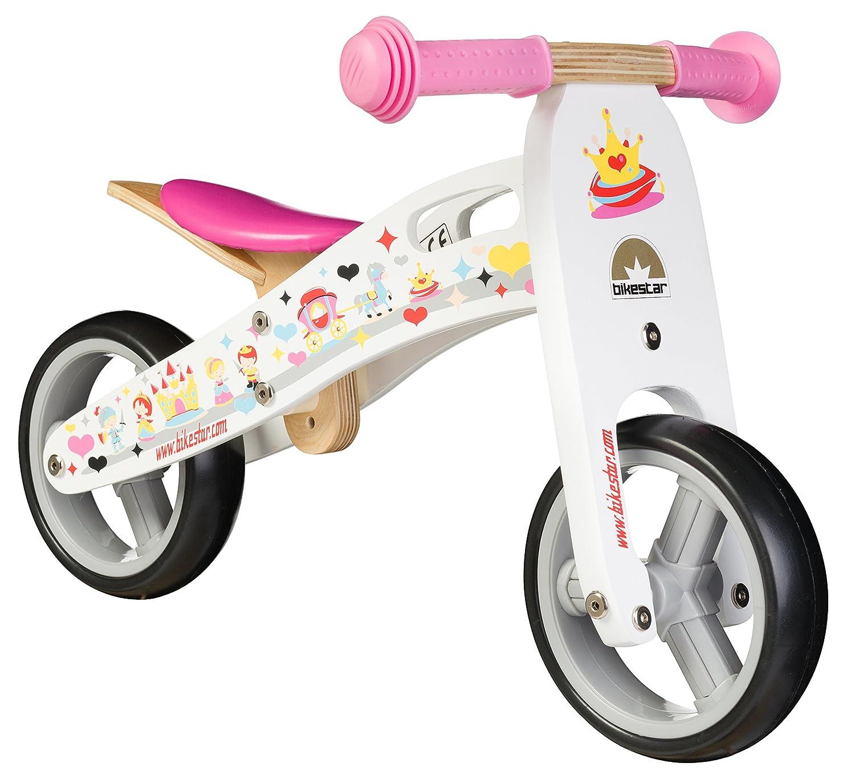 BIKESTAR® Frühstarter Kinderlaufrad für freche Zwerge ab ca. 18 Monaten ★ 7er Natur Holz Edition ★ Prinzessinnen Weiß als Geschenk