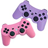 FSC Pack of 2 Mixed colors PS3 Wireless Remote Controller GamePad for use with PlayStation 3 (Pink/Purple)