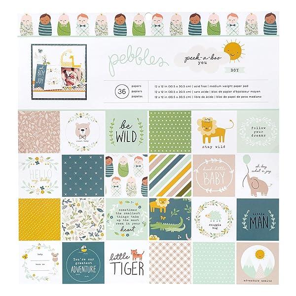 Pebbles 736764 Boy Paper Pad (Color: Boy Paper Pad, Tamaño: 12-x-12-Inch)