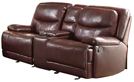 Homelegance 8599BGD-2 Double Glider Reclining Love Seat with Console, Burgundy Breathable Faux Leather