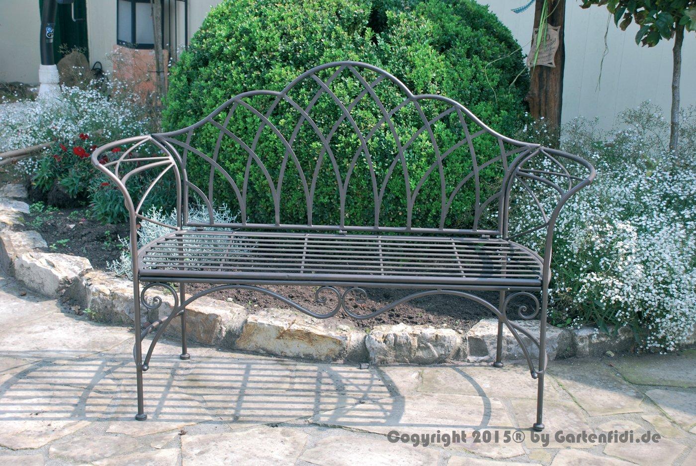 Gartenbank aus pulverbeschichtetem Rundeisen mit Ornamenten jetzt kaufen