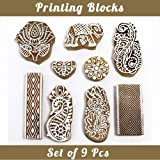 Asian Hobby Crafts Baren Handcarved Wooden Blocks for Stamping, Block Printing on Textiles, Pottery Crafts,Henna, Scrapbooking, Wall Painting: Set of 9pcs (Design A) (Color: Design A)