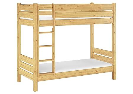 Solido letto a castello PER ADULTI 90x190 con assi di legno e materassi 60.16-09-190 T100 M