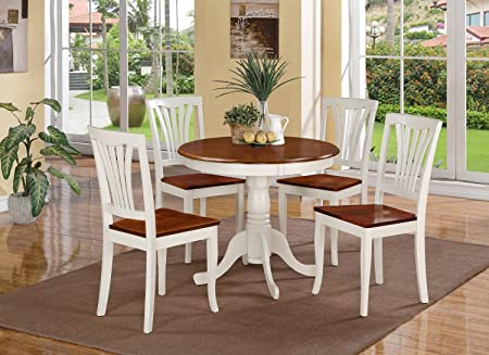 East West Furniture ANAV5-WHI-W 5-Piece Kitchen Table Set, Buttermilk/Cherry Finish