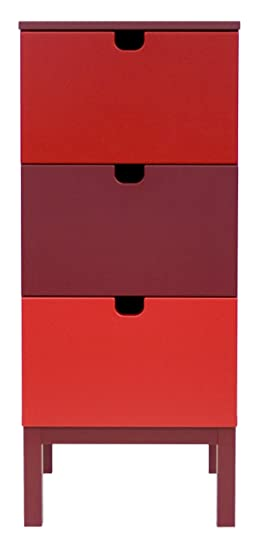 Tenzo 3507-828 Kubus - Designer Kommode rot mix, MDF lackiert matt, 112 x 46 x 43 cm