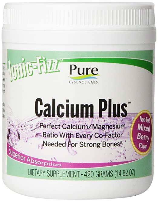 Pure Essence Labs Ionic Fizz Calcium Plus - Perfect Calcium/Magnesium Ratio With Every Co-Factor Needed For Strong Bones - Mixed Berry - 420 Grams