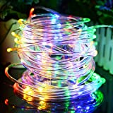 Solar Rope String Lights Waterproof 33ft 100 LED Copper Wire Outdoor Fairy String Light Solar Powered Christmas Decoration light Ambiance Lighting for Halloween Patio Garden Party Wedding(Multi-Color) (Color: 33ft/100LED-Rope Multicolor, Tamaño: 33ft/100LED-Rope Light)