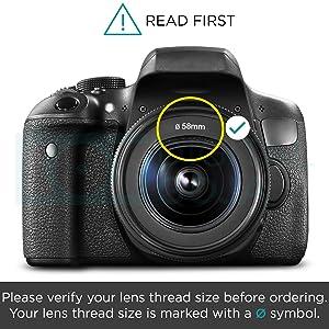 58MM Tulip Flower Lens Hood for Canon Rebel T5, T6, T6i, T7i, EOS 80D, EOS 77D Cameras with Canon EF-S 18-55mm f/3.5-5.6 IS Lens and Select Nikon Lenses (Tamaño: 58mm)