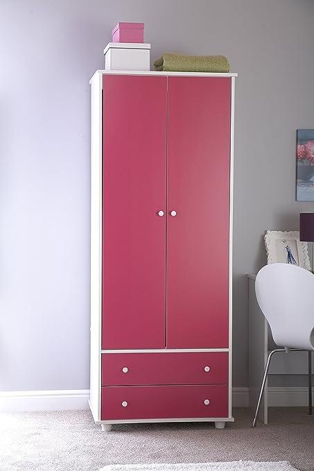 Armario en color blanco y rosa