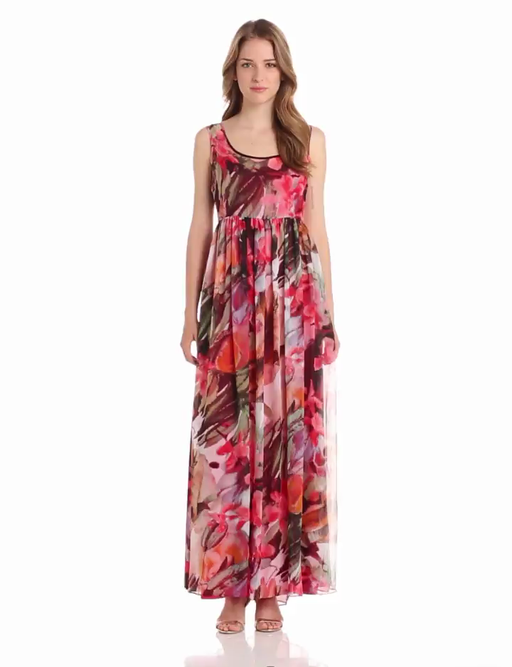 Isaac Mizrahi New York Womens Printed Chiffon Maxi Dress