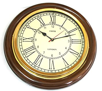 artshai 16 inch big wall clock for living room and office antique lookbrass