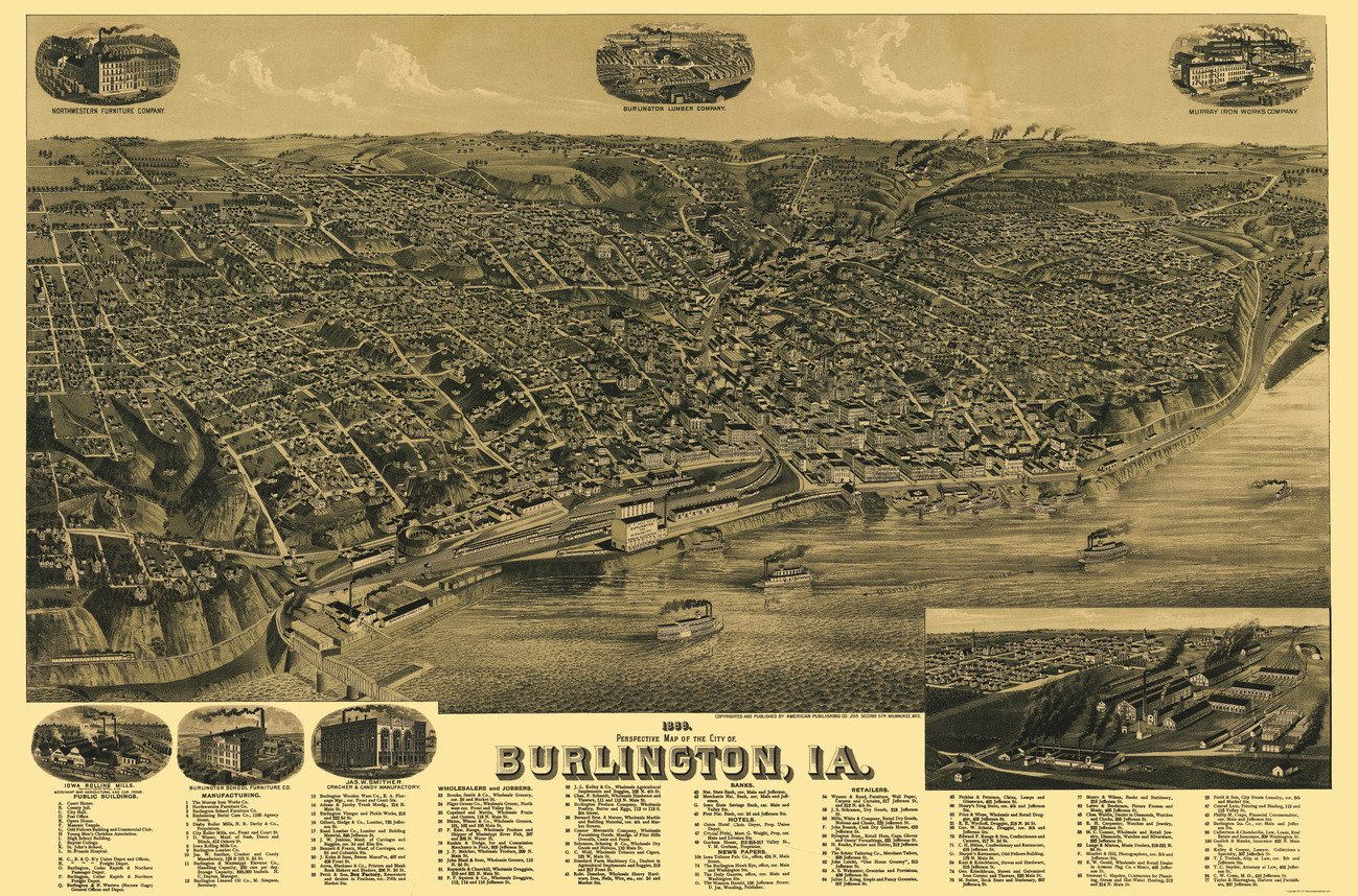 Panoramic Map of Burlington, Iowa