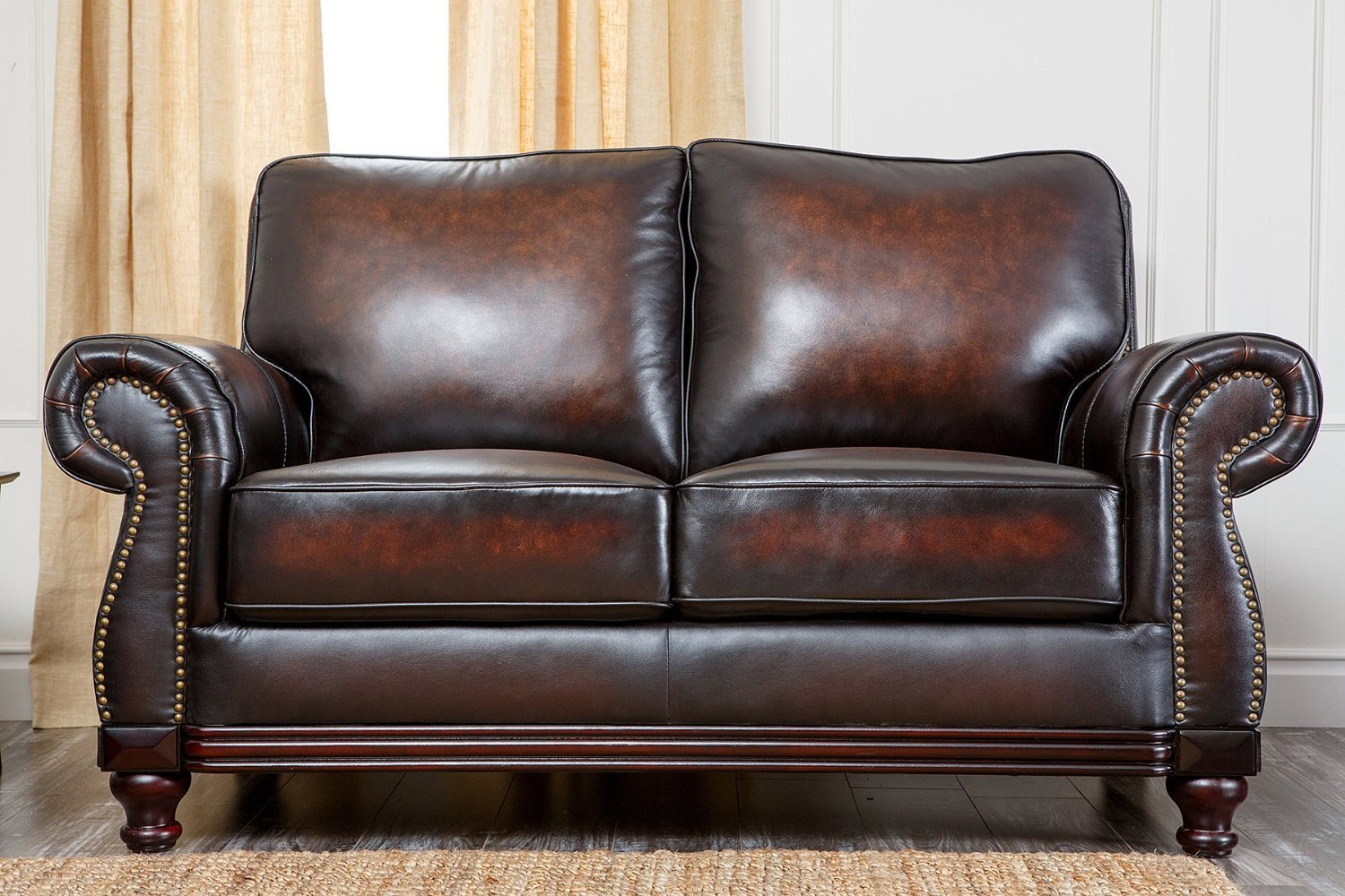 Abbyson Living Barclay Hand Rubbed Leather Loveseat -
