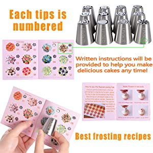 Russian Piping Tips Set 48 Pcs Cake Cupcake Decorating Supplies Kit Flower Frosting Tips 12 Icing Nozzles-2 Leaf Tips-3 Couplers-28 Pastry Baking Bags-User Guide (Tamaño: 48Pcs)