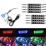 iJDMTOY 8-Piece Universal Fit 48-LED RGB Multi-Color LED Engine Bay or Under Car Ambient Decorational Lighting Kit w/ Wireless Remote Control