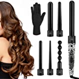 Luxspire 6 in 1 Hair Curling Wand, Professional Hair Curler with 0.35 to 1.25 Inch Interchangeable Ceramic Barrel Curling Iron Curling Rods Roller Set with Heat-Resistant Glove for All Hair Types (Color: Zebra)