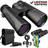 Binoculars for Adults. 10x42 Waterproof Lightweight Compact Binocular Prism Bak4. HD Binocular for Bird Watching Hunting Traveling and Sightseeing with Smartphone Adapter (Color: Grey, Tamaño: 10x42)