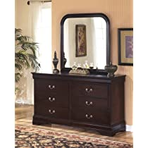 Roundhill Furniture Isola Louis Philippe Style Fully Assembled Wood Dresser and Mirror