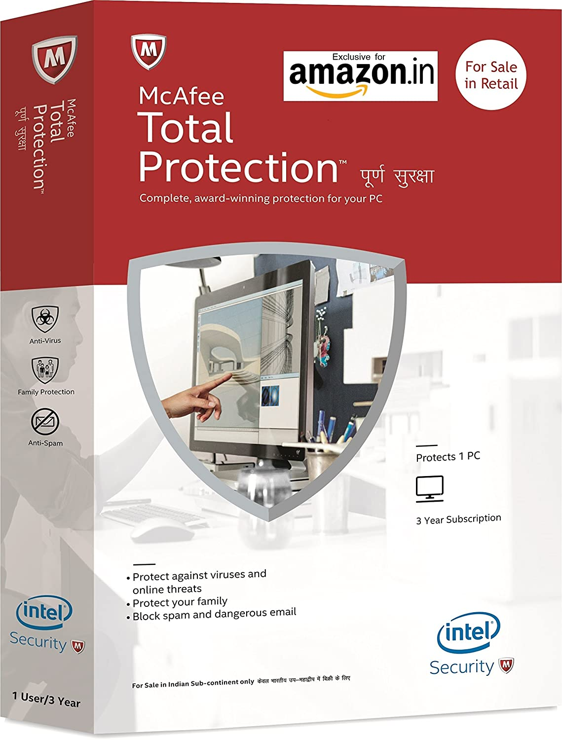 Upto 70% off On Best Selling Software By Amazon | McAfee Total Protection - 1 User, 1 Year (CD) @ Rs.549