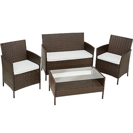 TecTake Polyrattan Gartenmöbel | Set besteht aus 1 Tisch, 2 Stuhlen, 1 Sitzbank und dazu passende Sitzkissen | Braun