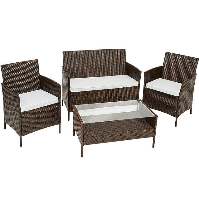 TecTake Set di Mobili da Giardino in Polyrattan | 1 Divano Tavolino, 1 Panca, 2 Sedie con Cuscini | Marrone