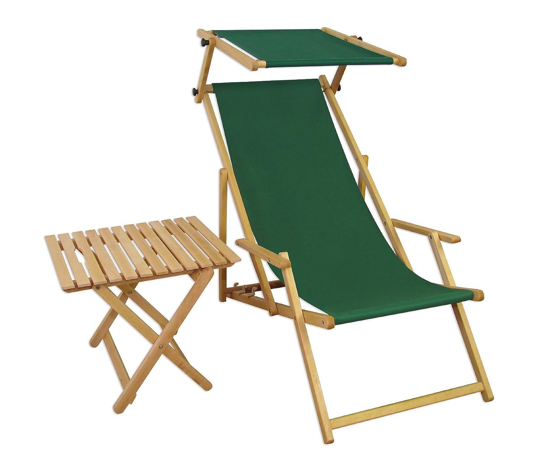 Sonnenliege Gartenliege Deckchair Saunaliege mit Dach und Tisch kaufen