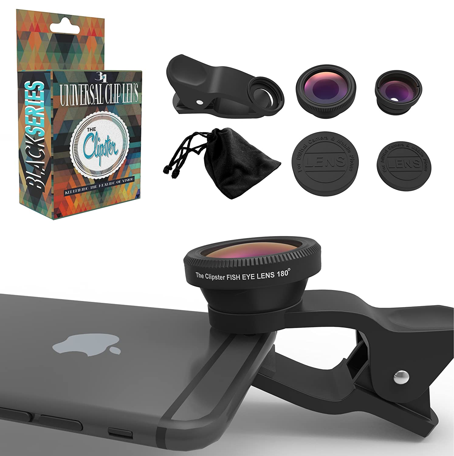 Clipster Cell Phone Clip Lens Kit With Microfiber Carrying Bag