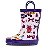 LONECONE Rain Boots with Easy-On Handles in Fun Patterns for Toddlers and Kids, Butterfly Boots, Little Kid 3