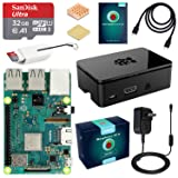 ABOX Raspberry Pi 3 B+ Complete Starter Kit with Model B Plus Motherboard 32GB Micro SD Card NOOBS, 5V 3A On/Off Power Supply, Premium Black Case, HDMI Cable, SD Card Reader with USB A&USB C, Heatsink (Color: Black, Tamaño: 32GB)