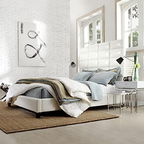 Metro Shop INSPIRE Q Tower Whte Bonded Leather High Profile Upholstered Queen-sized Bed-Sarajevo White Bonded Leather Queen Bed
