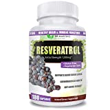 Extra Strength Resveratrol 1200mg - 180 Veggie Capsules - 3 Months Supply | Antioxidant Supplement | Natural Trans-Resveratrol Pills | for Anti-Aging, Heart Health, Immune System & Brain Function