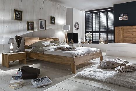 De madera maciza de cama de madera de Umbría cama doble juego de ropa de cama de madera maciza de roble salvaje de nuevo en embalaje original del fabricante para todos los tamaños disponibles de inmediato, Wildeiche, 180 x 200 cm - H3
