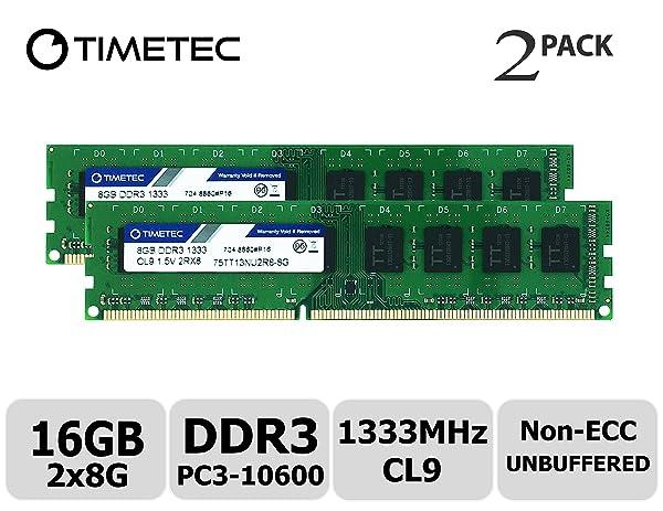 Timetec Hynix IC 16GB Kit (2x8GB) DDR3 1333MHz PC3-10600 Unbuffered Non-ECC 1.5V CL9 2Rx8 Dual Rank 240 Pin UDIMM Desktop Memory Ram Module Upgrade (16GB Kit (2x8GB)) (Tamaño: 16GB Kit (2x8GB))
