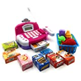 Toy Cash Register Cashier Playset Battery Operated, Kids Pretend Play Set ,Colorful Childrens Cash Register w/ Microphone, Scanner, Calculator, Play Money & Groceries /Kids Supermarket Cashier (Pink) (Color: Pink)