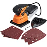 VonHaus 1.1A 2 in 1 Sheet & Detail Sander - 14000 RPM with 6 Sanding Sheets Included - Multi-Use, Compact Lightweight Design with Dust Extraction System and 6ft Power Cord