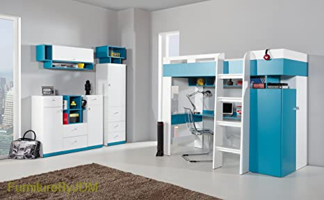 High Sleeper Composition MOBI System 20. Kids/Children Furniture Set. High Sleeper (mattress not included), Desk, Wardrobe, Shelves (all as one unit) Wall-mounted Shelve, Free Standing Display Unit, Innovative Chest Of Drawers.