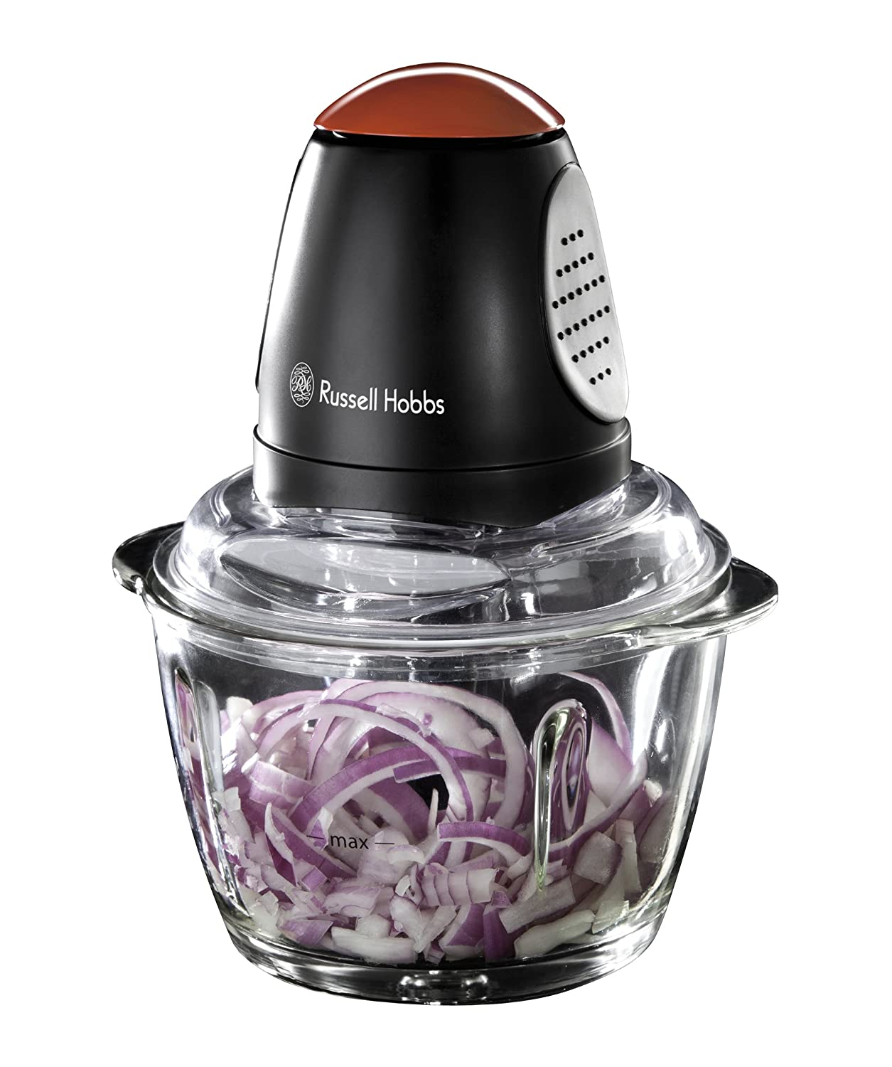 Russell Hobbs 18558 RU-18558 Desire Mini Chopper with 500 ml glass bowl, Glass, 380 W, 1 Litre, Black and Red