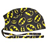 Surgical Scrub Hat Made with Batman Symbols Black Cotton Fabric Nurse Cap Tie Back Doctor ER Chemo Surgery Skull Handmade in the USA
