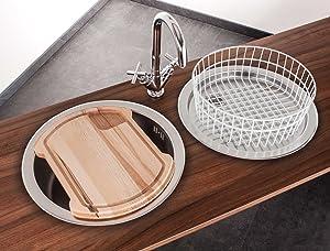 Mebasa Küchenspüle, Rundspüle, Einbauspüle, Spüle in Edelstahl, 4tlg. Set, ohne Armatur  BaumarktKundenbewertung und Beschreibung