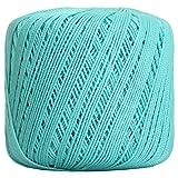 Threadart 100% Pure Cotton Crochet Thread - SIZE 3 - Color 22 - AQUA -2 sizes 27 colors available (Color: AQUA, Tamaño: SIZE 3 SINGLE)