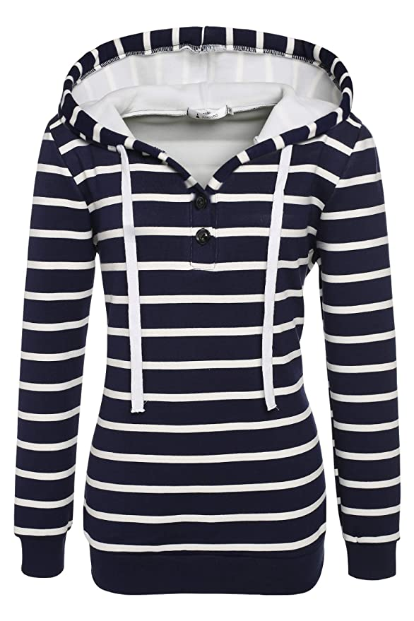 ANGVNS Ladies Women Casual Hooded Long Sleeve Striped Pullover Hoodies With Fleece Blue White