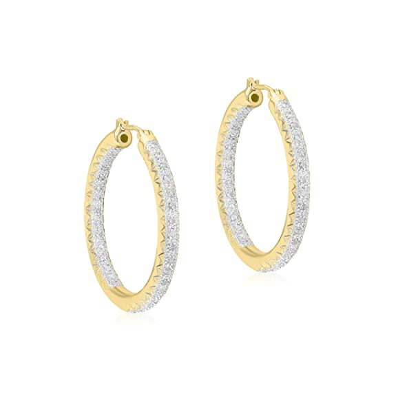 Carissima Gold 9 ct Yellow Gold 0.50 ct Diamond 33 mm Creole Earrings