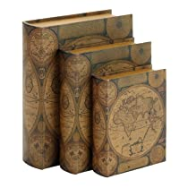 World Map Leather Faux Book Boxes