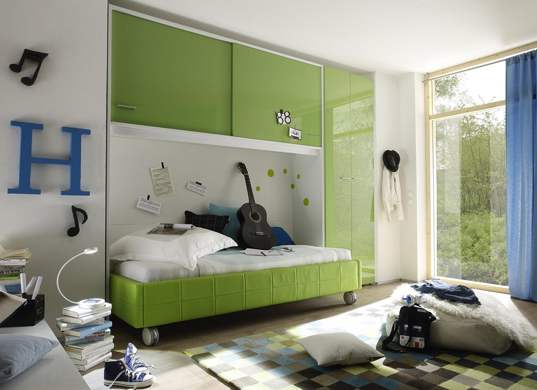 Jugendzimmer mit Bett 90 x 200 cm kiwi grün/ weiss günstig kaufen
