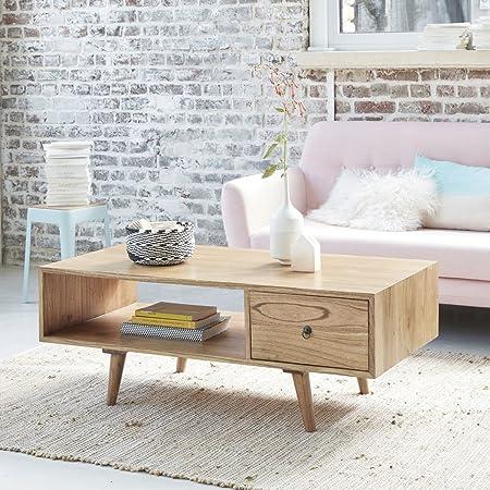 Table basse en bois de mindy - 120 x 60 cm - 1 tiroir - OSLO